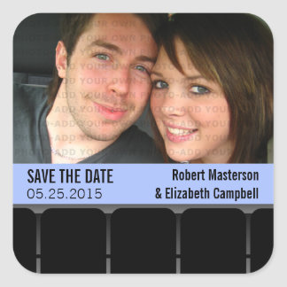 Movie Theater Photo Save the Date Stickers, Blue