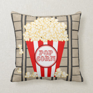 Movie Theater Popcorn and Film Pillow-red Throw Pillow