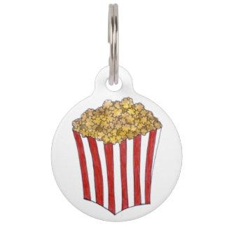 Movie Theatre Buttered Popcorn Caramel Corn Foodie Pet ID Tag