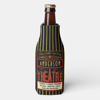 Movie Theatre Cinema Marquee | Custom Family Name Bottle Cooler