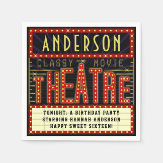 Movie Theatre Marquee Cinema Birthday Party | Name Disposable Napkin