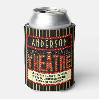Movie Theatre Marquee | Custom Family Cinema Name Can Cooler