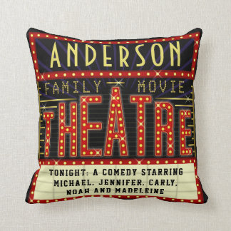 Movie Theatre Marquee Home Cinema | Custom Name Throw Pillow