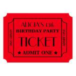 "Movie Ticket Birthday Party 5"" X 7"" Invitation Card"