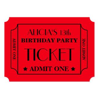 Movie Ticket Birthday Party Card