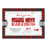 Movie Ticket Horror Movie Party Admission Invite