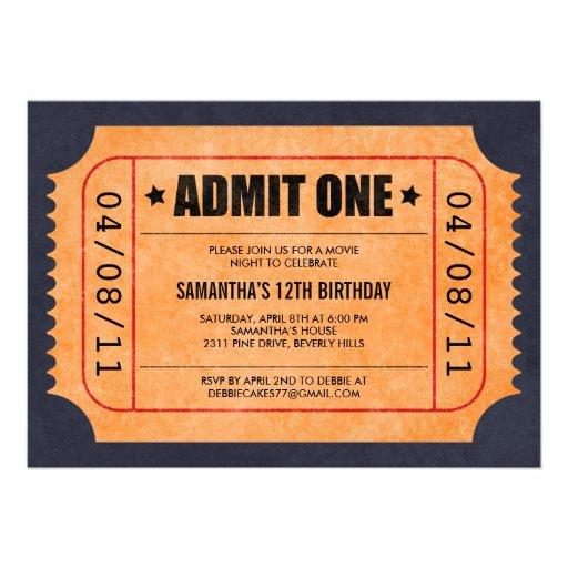 Ticket Invitations Template Print Ticket Sample Sample Movie – Movie Ticket Invitations Template
