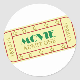 Movie Tickets Round Sticker