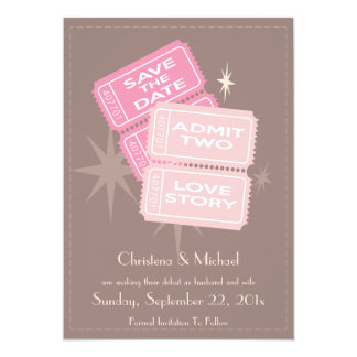 Movie Tickets Save the Date Card (Brown)