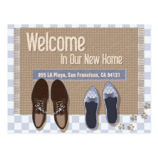 Moving Announcement door mat with your new address Postcard