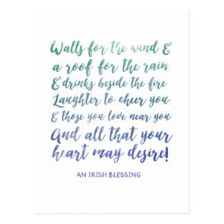 Moving Announcement Irish Blessing Postcard