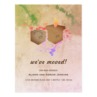 Moving Boxes and Splatter Paint | We've Moved Postcard