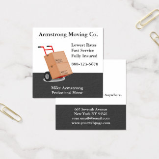 Moving Company Mover Dolly Cart Square Business Card