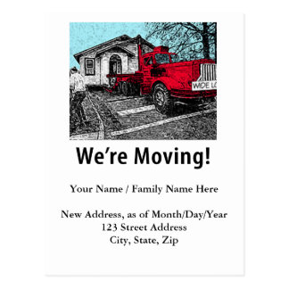 Moving Notice, Red Truck Postcard
