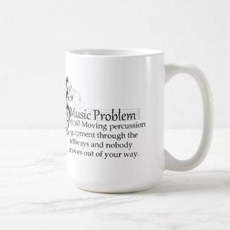 Moving percussion equipment through the hallways coffee mug