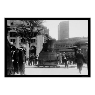 Moving the Horace Greeley Statue 1915 Poster