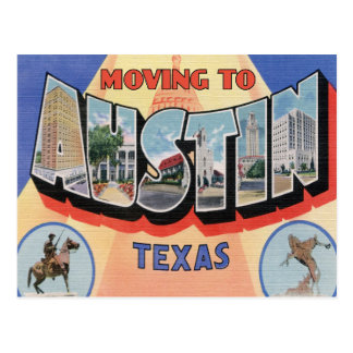 Moving to Austin, Texas Vintage Change of Address Postcard