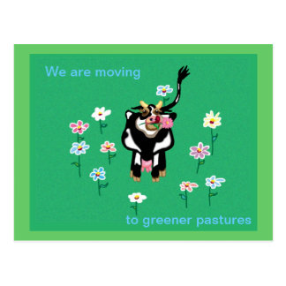 Moving to greener pastures postcard