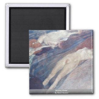 Moving Water By Klimt Gustav Fridge Magnets