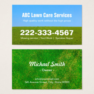 Mowing Lawn Care Green Field Grass Blue Sky Business Card
