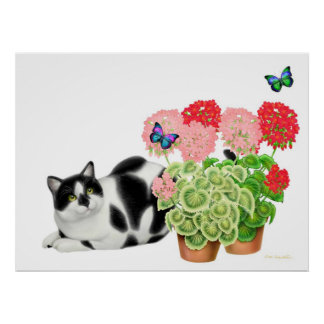 Moxie Cat and the Butterflies Print
