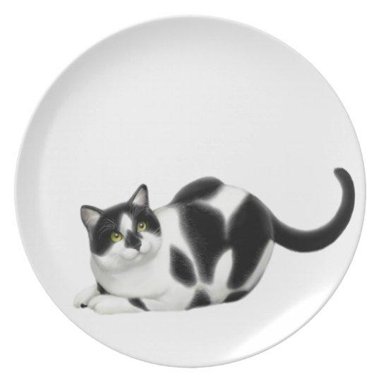 Moxie the Tuxedo Cat Plate