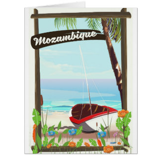 Mozambique Fishing boat cartoon vacation poster Card