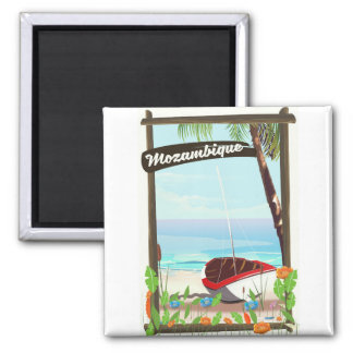 Mozambique Fishing boat cartoon vacation poster Magnet