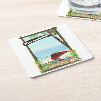 Mozambique Fishing boat cartoon vacation poster Square Paper Coaster