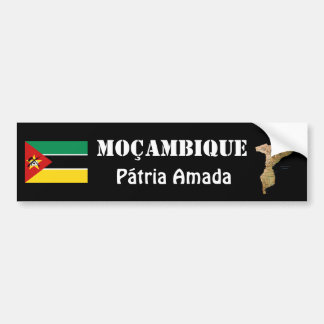 Mozambique Flag + Map Bumper Sticker