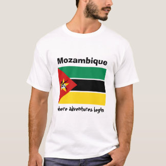 Mozambique Flag + Map + Text T-Shirt