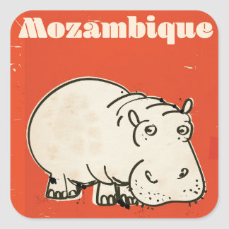 Mozambique hippo travel poster print square sticker