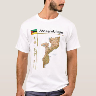 Mozambique Map + Flag + Title T-Shirt