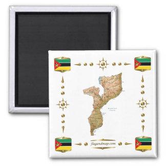 Mozambique Map + Flags Magnet