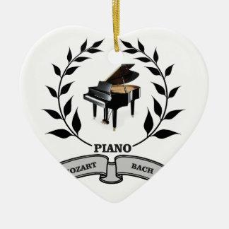 Mozart and Bach piano Ceramic Heart Ornament