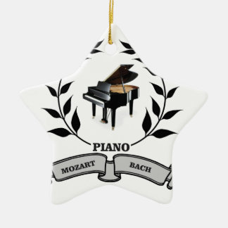 Mozart and Bach piano Ceramic Star Ornament