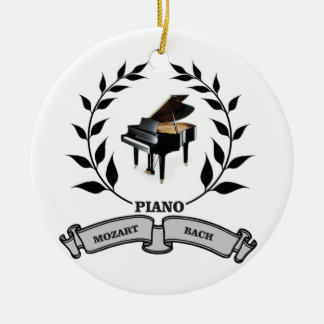 Mozart and Bach piano Round Ceramic Ornament