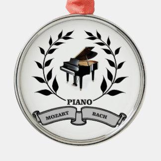 Mozart and Bach piano Silver-Colored Round Ornament