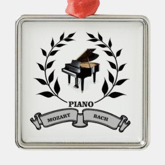 Mozart and Bach piano Silver-Colored Square Ornament