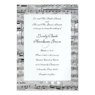 Mozart and Pearls Music Wedding Invitation