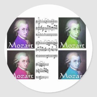 Mozart Lovers Gifts Round Stickers