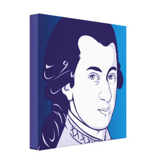 Mozart on Canvas - Cartoon Style, blue/white