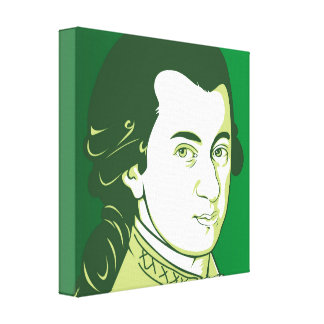 Mozart on Canvas  - Cartoon Style, green/white