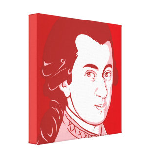 Mozart on Canvas - Cartoon Style, red/white
