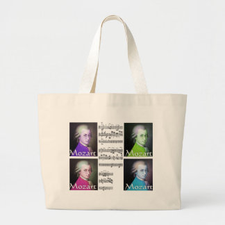 mozart pop art tote bag with his sheet music