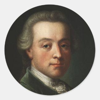 Mozart Portrait Classic Round Sticker