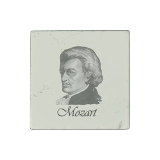 Mozart Portrait With Name Underneath Stone Magnets