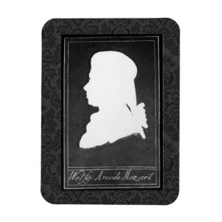 Mozart Profile Paper Cutout White on Black Rectangular Photo Magnet