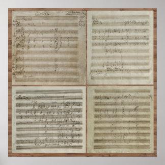 Mozart Violin Concerto Manuscript Poster