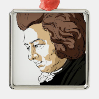 Mozart (Wolfgang Amadeus Mozart) Silver-Colored Square Ornament
